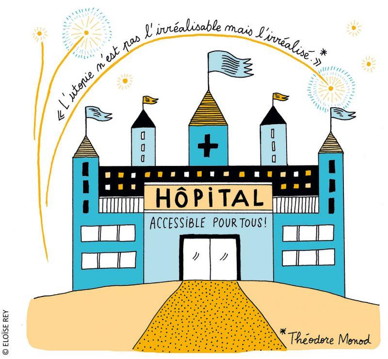 Représentation d'un hôpital accessible pour tous