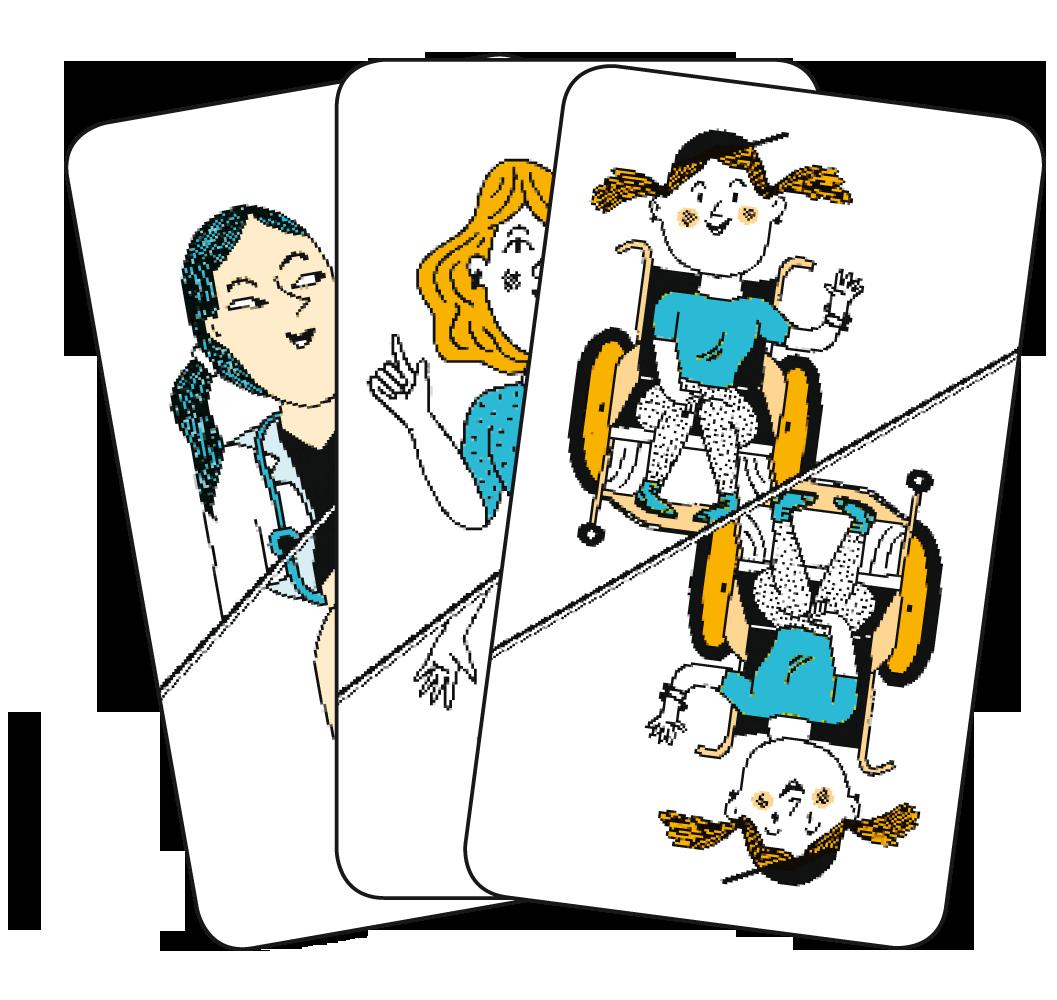Cartes à jouer représentant Lulu, une soignante et la mère de Lulu