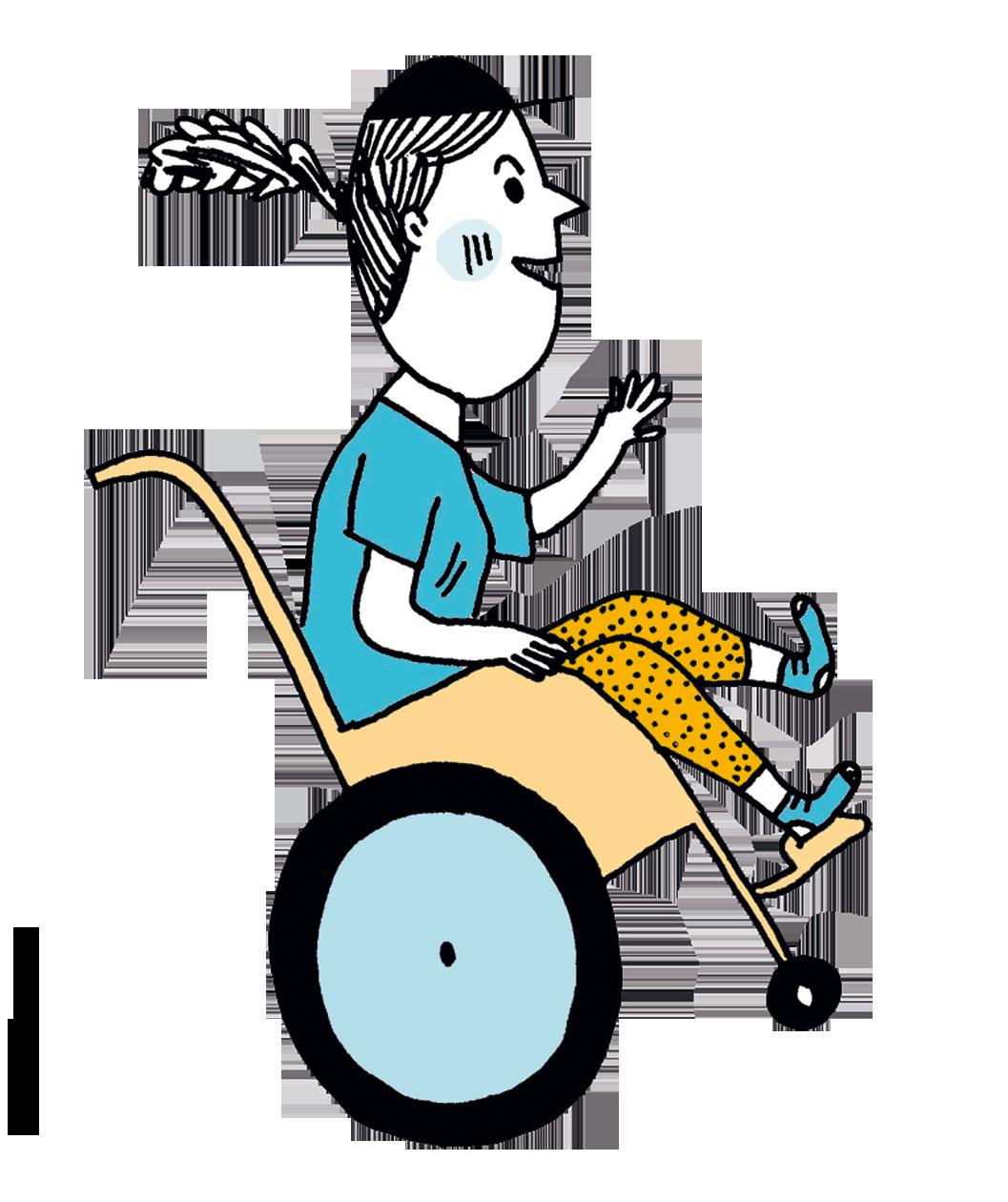 Lulu dans son fauteuil roulant